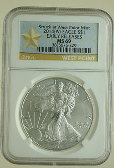 United States – Dollar 2014 'Silver Eagle' (West Point) 1 oz silver in Slab