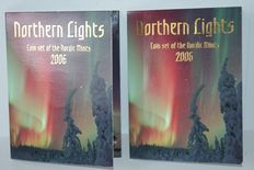 Scandinavia - coin set 'Northern Lights' 2006 (2 sets) incl. silver medal