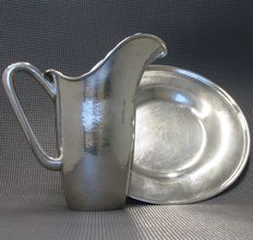 Silver jug and plate, Italy, 1980