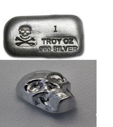 2 pieces each 1 oz, 31.1 g 999 silver bars, skull YPS Yeagers Poured Silver USA