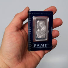 Pamp Suisse Fortuna 50 g 999 Silver bars in blister & certificate