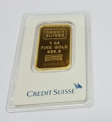 Gold bar, 31.1 gr, 1 oz Credit Suisse with certificate