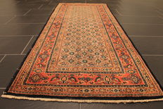 Regal hand-woven Moud Persian rug 80 x 195 cm, Made in Iran around 1990