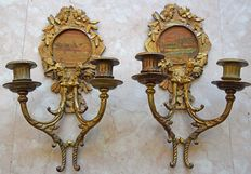 2 gilded brass wall lights - Italy - early 20th century