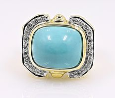 Turquoise and Diamonds estate ring - No reserve price!
