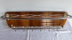 Designer unknown - Walnut and chrome coat rack with hat rack