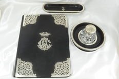 Office set in leather and solid silver, code letters of Count Abraham of Camondo **, London England, circa 1850-1880