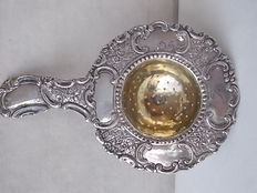 127 Rare antique English silver plated tea strainer, interior gold-plated and marked, 1840