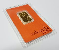 Gold bar, 10 gr, Valcambi Switzerland with certificate