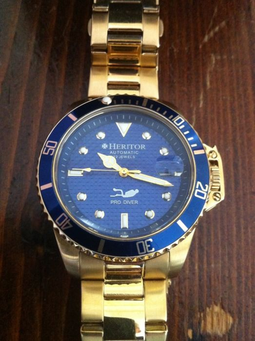Heritor Unisex Automatic Pytheas Pro diver HERHR 2104 Gold-2016