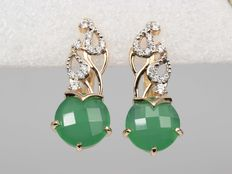 Gold earrings with green agate and zirconias
