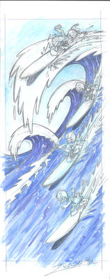Disney - Donald Duck and his nephews surfing - Original Watercolor - Z. Vendetta