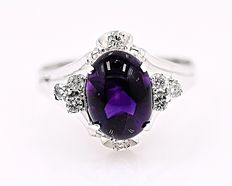 Amethyst cabochon and Diamonds ring - No reserve price!