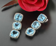 A pair of blue topaz diamond dangle earrings, 12.24 ct in total