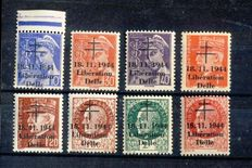 France 1944 – Liberation of Delle, small group of 8 stamps, signed Calves.