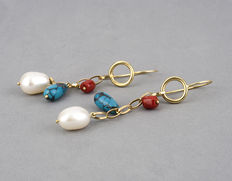 Long yellow gold earrings with natural Japanese coral, turquoise and freshwater pearls