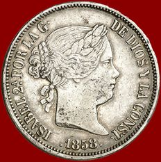 Spain - Isabel II (1833 - 1868), 20 real  silver coins (25.90 g,  37 mm). Madrid – 1858.