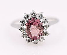 Pink Tourmaline and Diamonds halo ring - No reserve price!