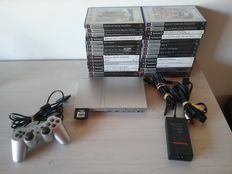 Complete PS2 Slim Console (Silver) with 30 Games (No Manuals)