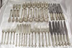 George Jensen - 47-piece Art Deco silver cutlery set - Bruto weight 2898 gram