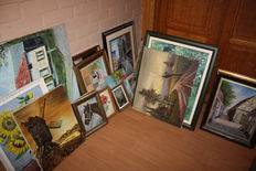 Lot of 64 paintings - 2nd half of the 20th century