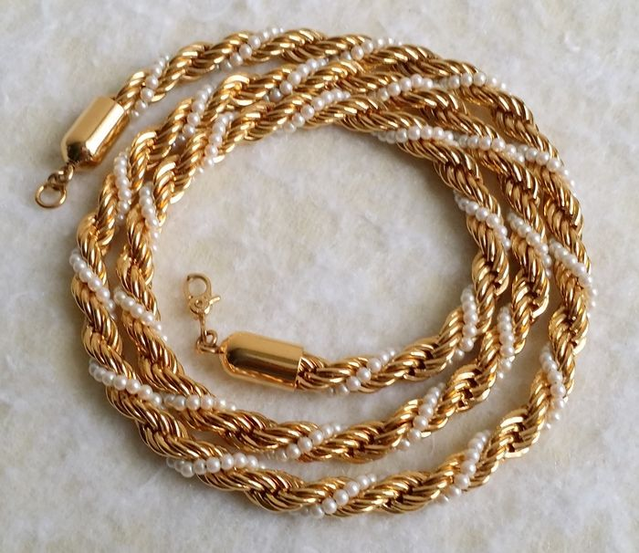 Vintage Monet Gold Plated Faux Seed Pearl Braided Rope Chain