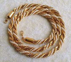 Vintage MONET Gold Plated Faux Seed Pearl Braided Rope Chain Necklace