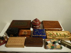 Collection of ten different wooden boxes, music box, jewelry boxes