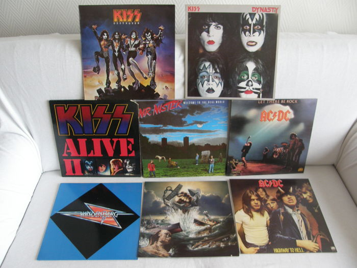 Lot 8 Albums (9 LP,s) 3 x Kiss - 2 x AC/DC - Vandenberg - Mr. Mister - Salty Dog
