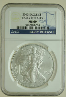United States – Dollar 2013 'Silver Eagle' 1 oz silver in Slab