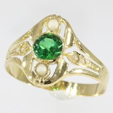 Gold ring with green stone and pearls - NO Reserve Price- circa 1900