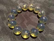 Bluish fluorescent Mexican Amber necklace, 32.5 grams