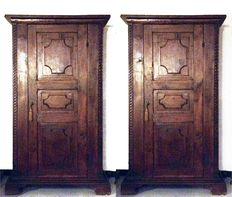 Two identical cabinets - in walnut - Siena, Italy - 17th century