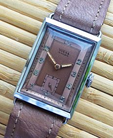 VEHUS Art Deco 15 rubies men's wristwatch 1945 - very rare collectors' piece