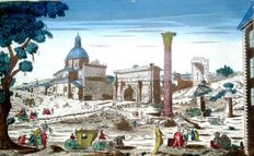 Vue d'optique - Perspective view - Rome - Roman Forum - ITALY - 18th century