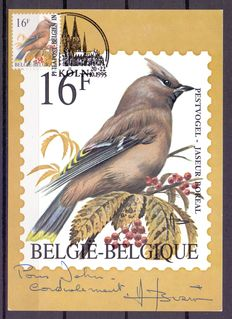 Belgium, collection of special cards with birds by André Buzin, including signed cards