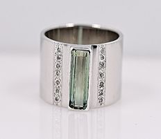 Elongated Tourmaline and Diamonds cigar band ring - No reserve price!