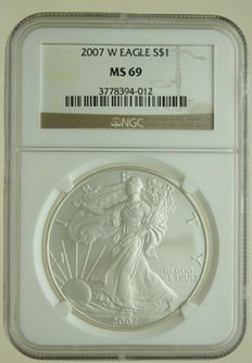 United States  – Dollar 2007W 'Silver Eagle' 1 oz silver in Slab