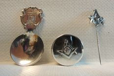 Silverplate masonic pill box + sterling spoon Lodge Tuscan + silver pin