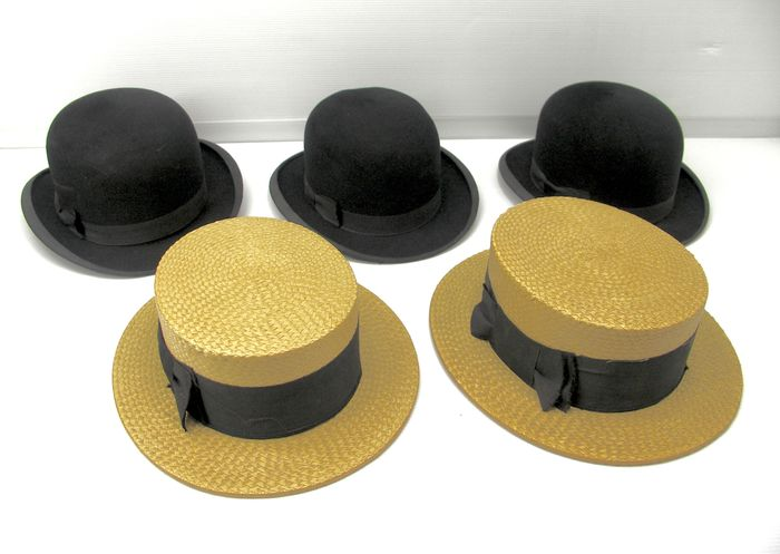 f72f55e84209e Five old men s hats - 2 boater hats - 3 bowler hats