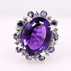 Amethyst and Diamonds halo ring - No reserve price!