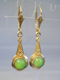 Earrings with bright green chalcedonies