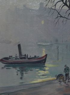 Freek van den Berg (1918-2000) - Mist over de Amsterdamse gracht