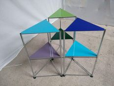 Designer unknown - 3 side tables equipped with chrome and stained glass