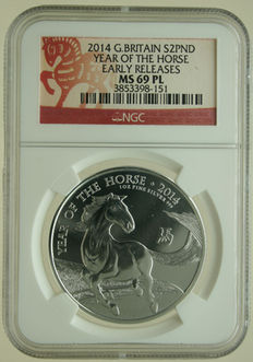 "United Kingdom – 2 Pounds 2014 ""Year of the Horse"" 1 oz silver in Slab"