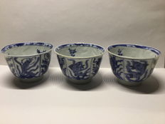 Porcelain teacups, Crab & Fish - China - approx. 1700 (Kangxi period)