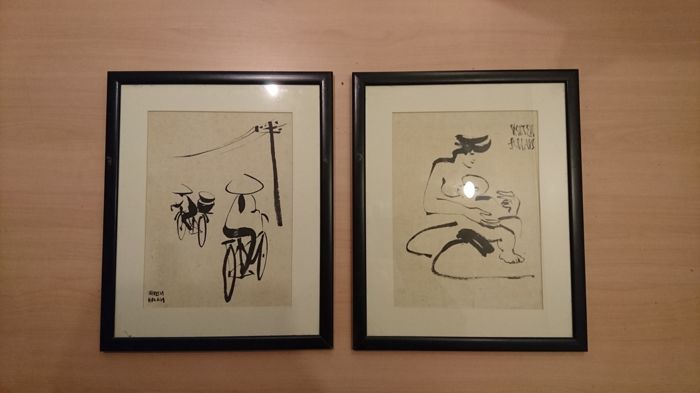 Two Asian pressed drawings on rice paper – Asia – mid 20th century