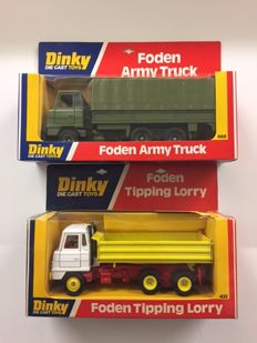 Dinky Toys - Scale 1:48 - Lot with Foden army truck No. 668 and Foden tipping lorry No. 432.
