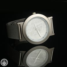 Watch with Gibeon meteorite dial. Structure in stainless steel. Spectacular and unique.