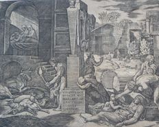 Marcantonio Raimondi (1480 - 1530) after Raphael - the plague of Phrygia
